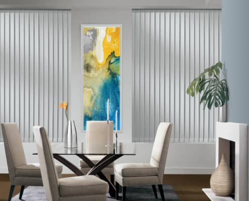 Hunter Douglas Somner Vertical Blinds PermaTilt Cullen Dining Room