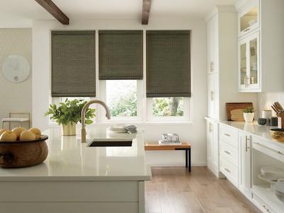 Hunter Douglas Provenance Woven Wood Natural Shades Kitchen